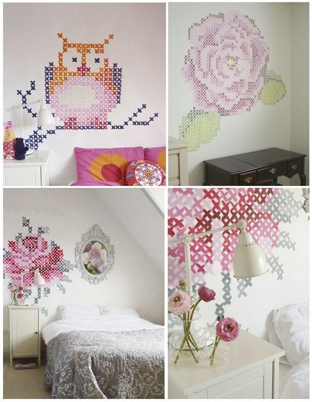 Inspiraci n diy decora tus paredes a punto de cruz for Como adornar la pared de mi cuarto