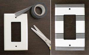 Interruptor con washi tape de rayas.