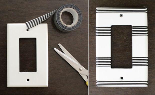 DIY Customiza tus interruptores de luz con washi tape