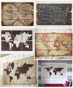 Mapas del mundo montados en madera