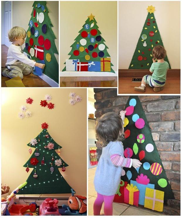 Manualidades para niños: árbol de navidad de fieltro para decorar y jugar