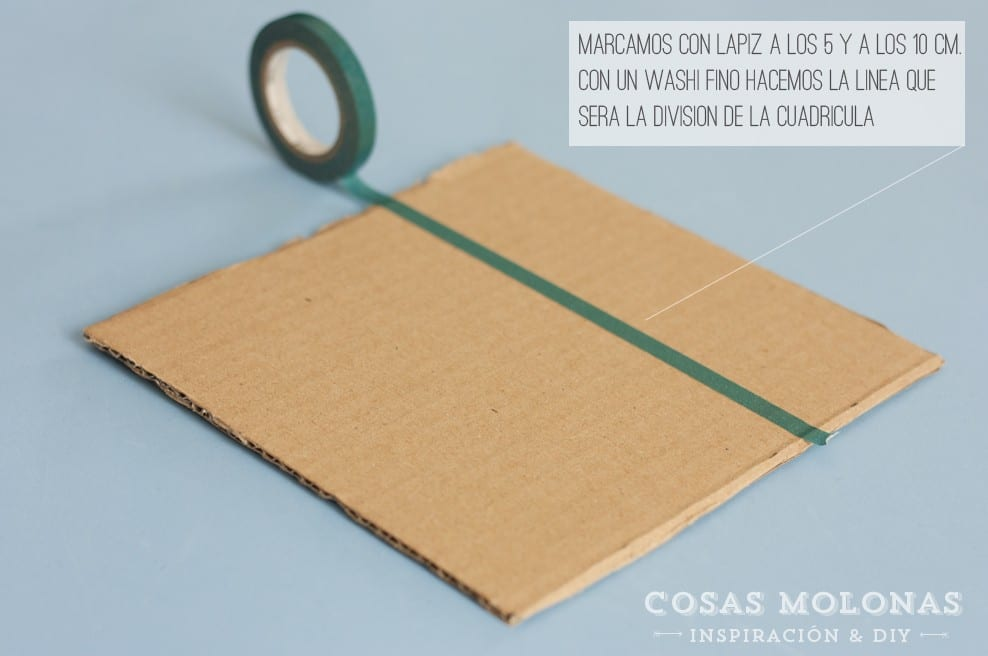 """DIY """"Tres en raya"""" con cartón y washi tape en blog.cosasmolonas.com"""