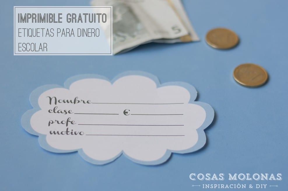 Imprimible gratuito: Etiquetas para dinero escolar