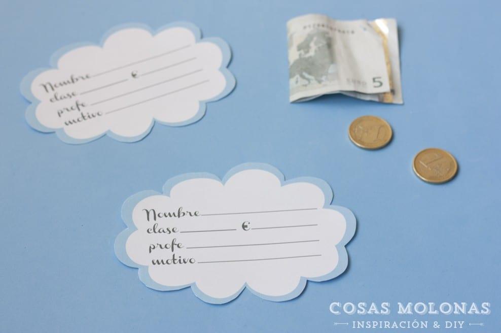 Imprimible gratuito: Etiquetas para dinero escolar en Cosas Molonas Blog