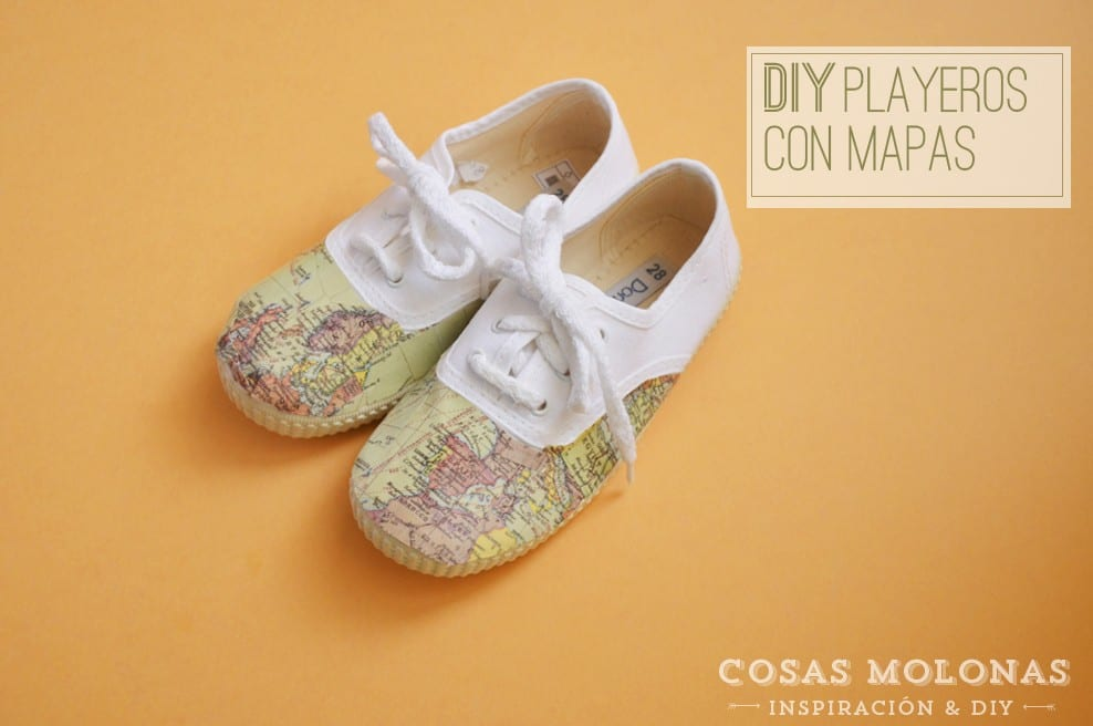 DIY Playeros customizados con mapas y mod podge, en blog.cosasmolonas.com