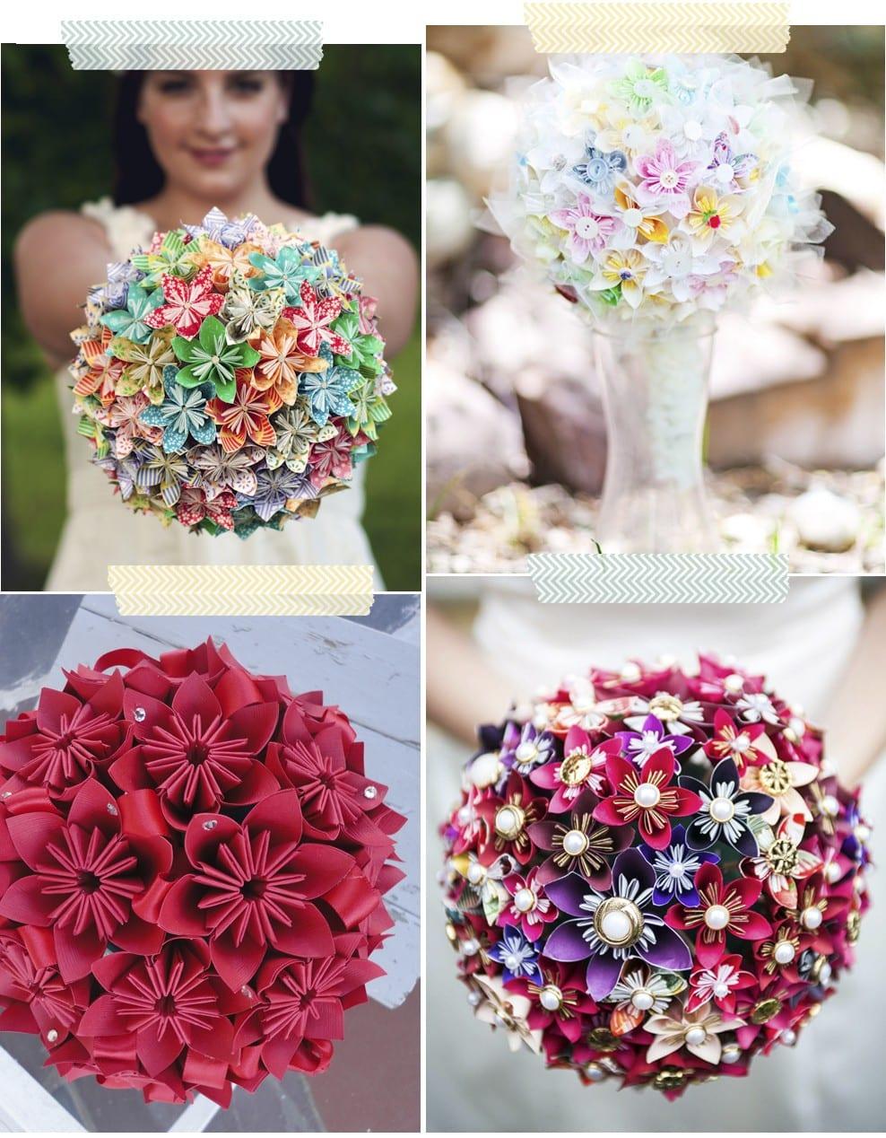 Bodas: Bouquet de Origami como ramo nupcial en blog.cosasmolonas.com