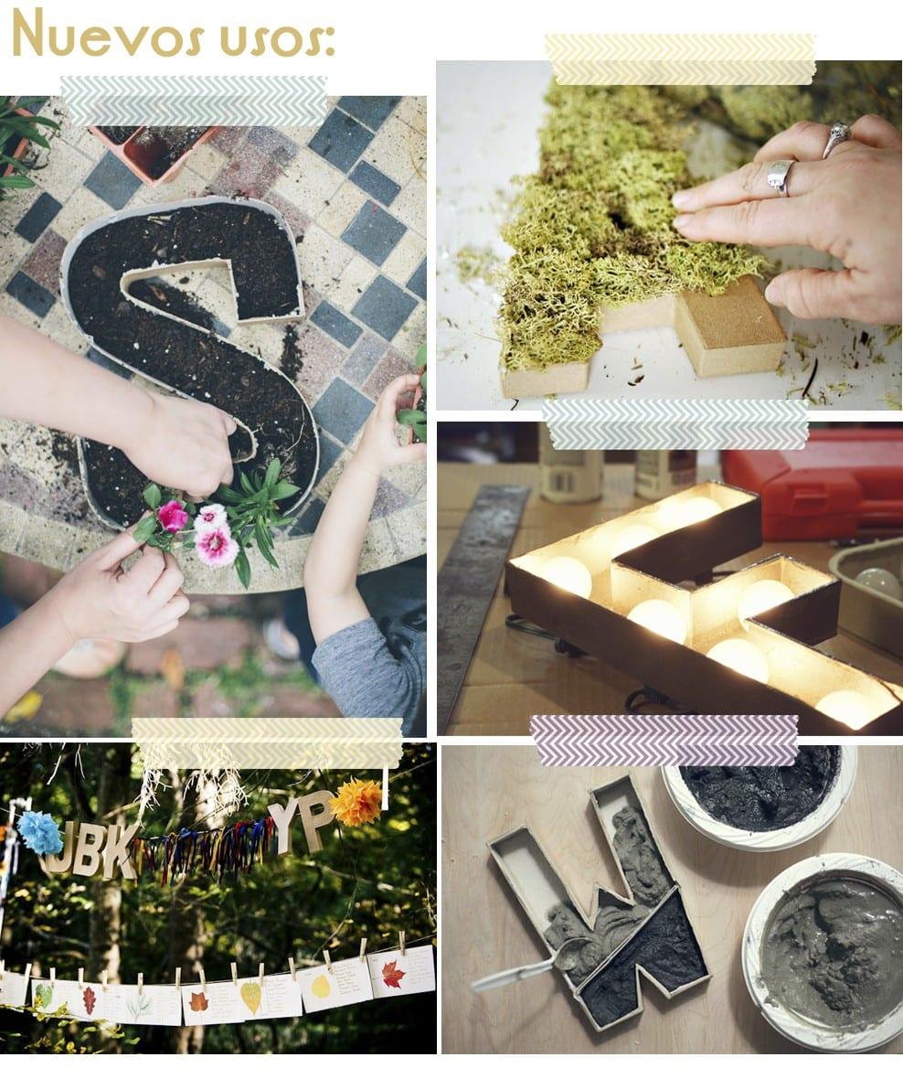 """Inspiración: Usos """"clásicos"""" y nuevos usos para iniciales de cartón en blog.cosasmolonas.com"""