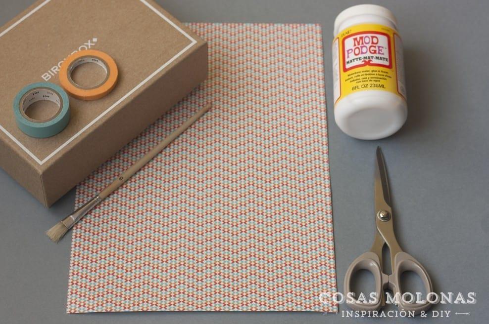 DIY Clásicos de washi tape n.8: Caja de cartón customizada