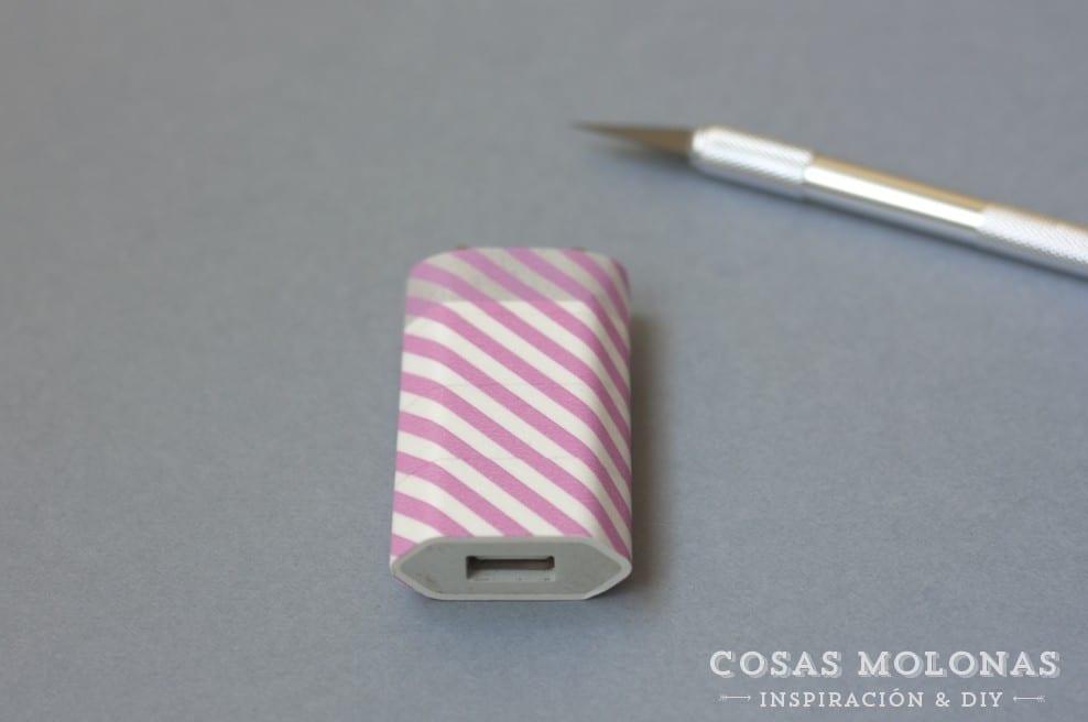 DIY clásicos de washi tape n.7: cargador de teléfono