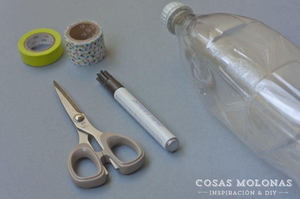 DIY clásico de washi tape n15: etiquetar + DIY portalápices con botella reciclada
