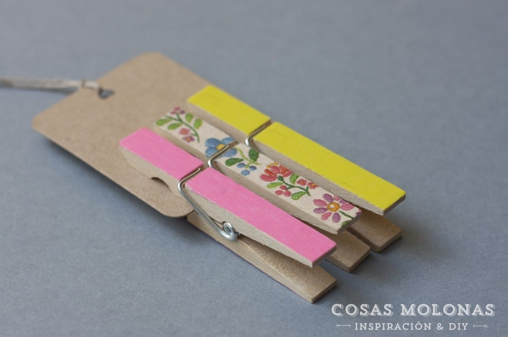 Decorar pinzas con washi tape