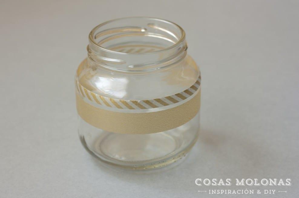 DIY clásicos de washi tape n. 4: tarro decorado y portavelas