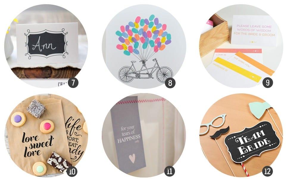 12 Imprimibles gratis para tu boda