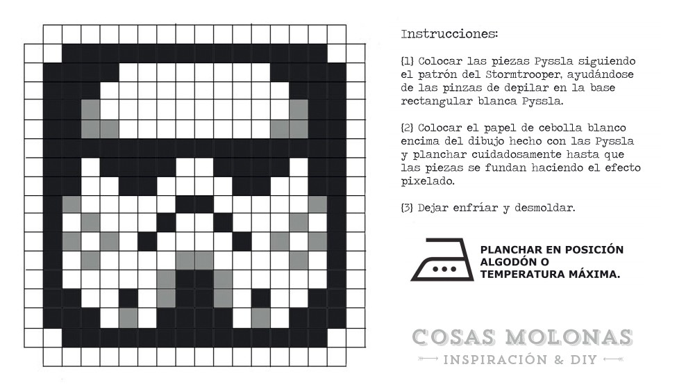 Star Wars con hama beads: posavasos stormtrooper / DIY coaster Stormtrooper with pyssla