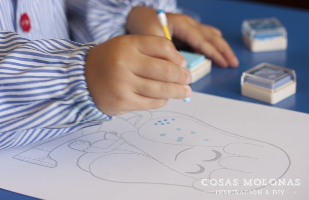 Manualidades para niños: Estampar con bastoncillos de algodón