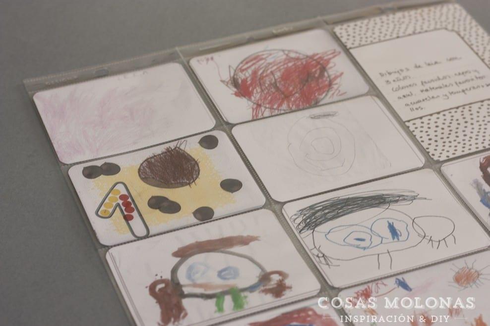 Idea para Project Life: Composición con la evolución de los dibujos de los peques