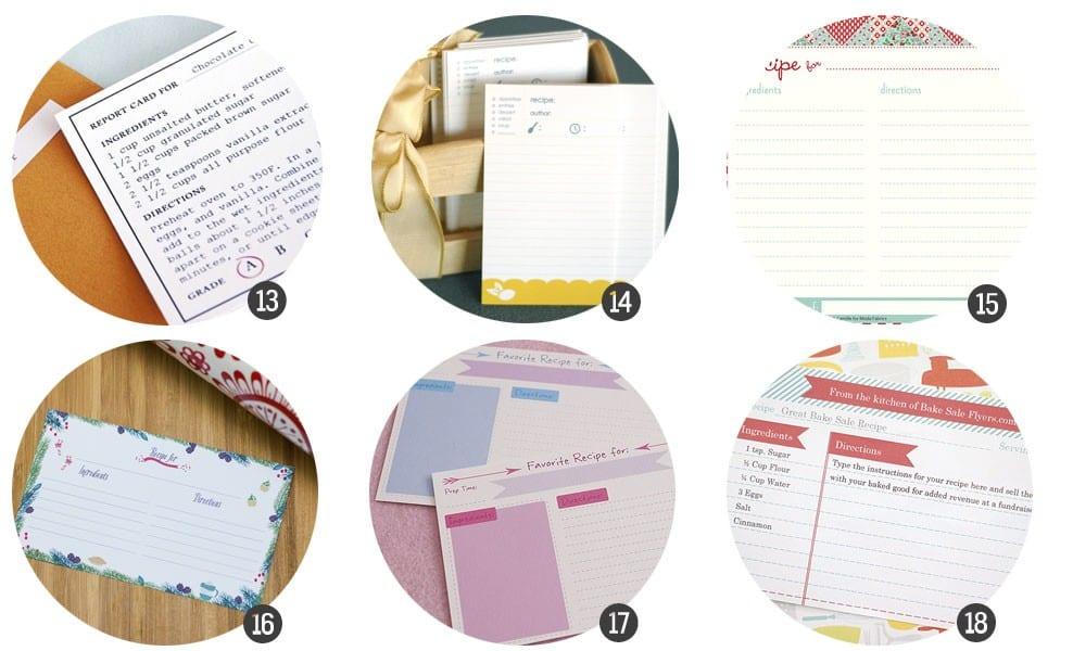 Imprimibles gratis: 18 tarjetas para tus recetas de cocina (II)