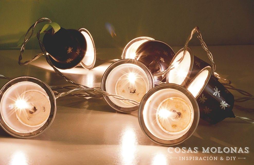 DIY Guirnalda de luz con cápsulas de café recicladas