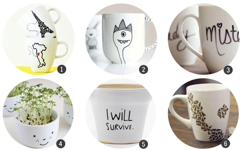 Regalos DIY: 18 diseños para decorar tazas de cerámica