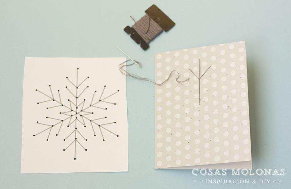 Imprimible gratis: Plantilla para bordar copos de nieve en tarjetas ...