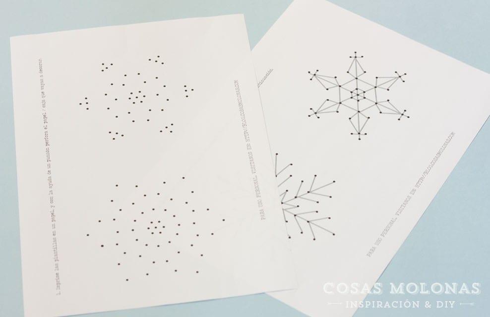 Imprimible gratis: Plantilla para bordar copos de nieve en tarjetas + DIY