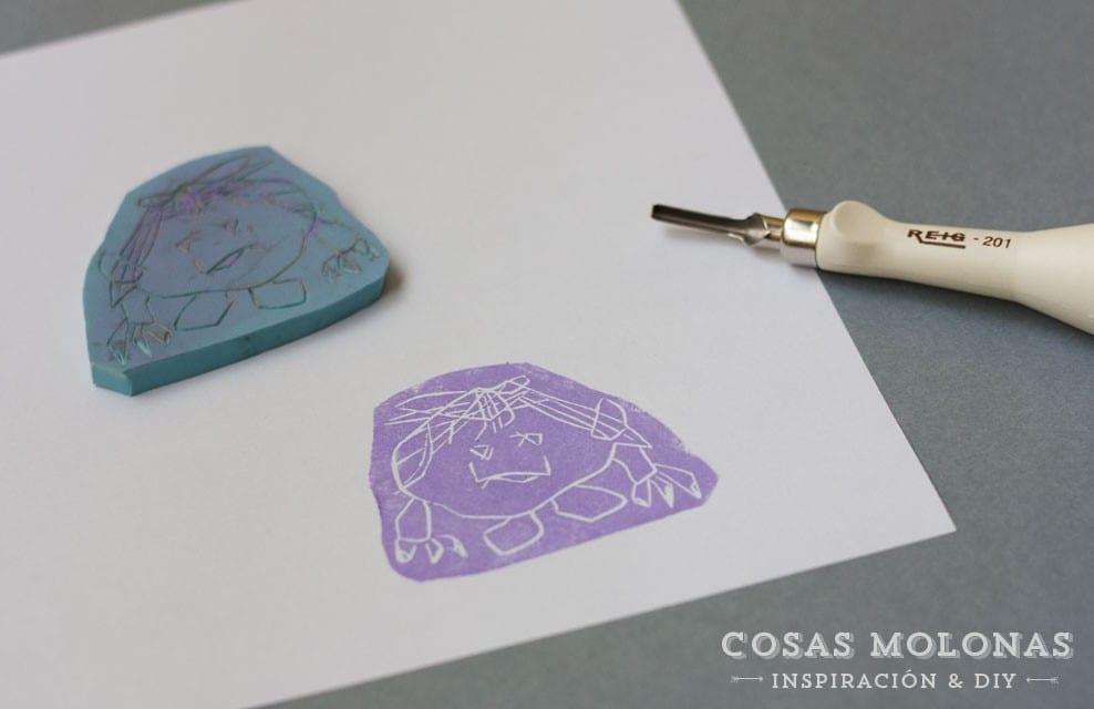 Manualidades para niños: sellos carvados con sus propios dibujos