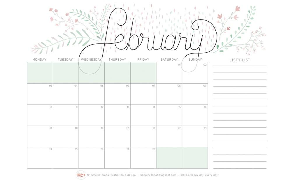 8 calendarios de Febrero 2014 para imprimir y fondos de escritorio