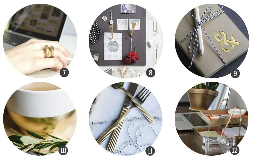 Inspiración: 18 DIYs con un acabado dorado