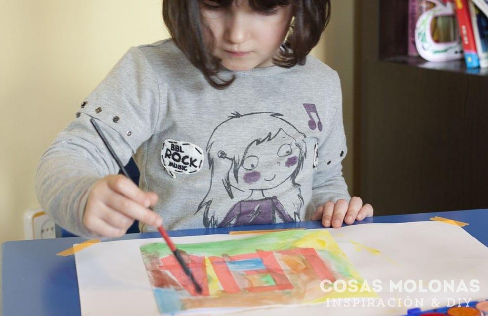 Manualidades para niños: Cuadro de acuarelas con su nombre