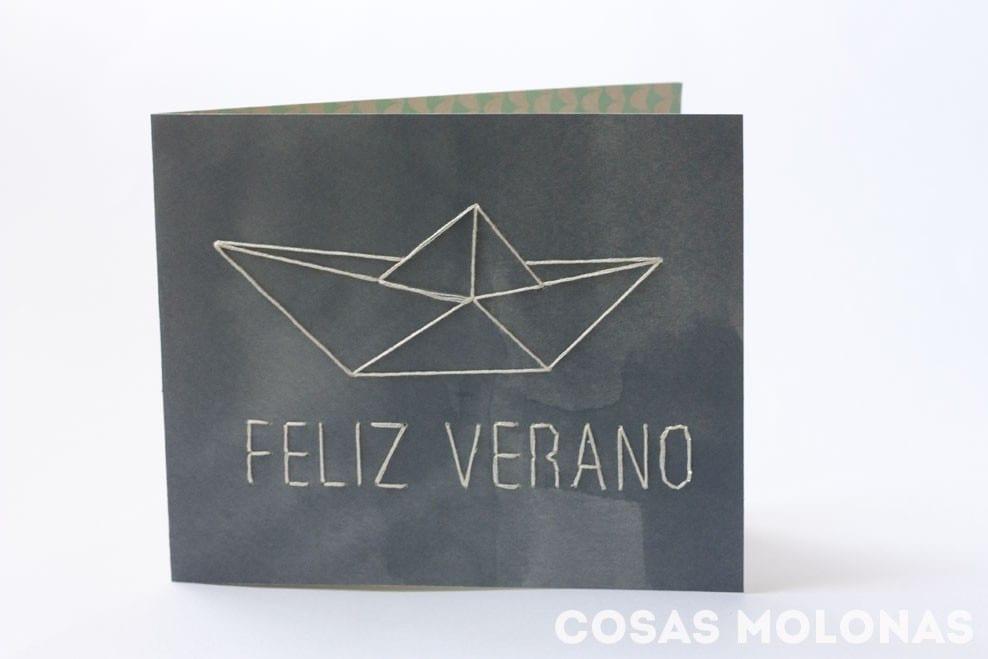 Imprimible gratis: Plantilla «Feliz Verano» para bordar en tarjetas
