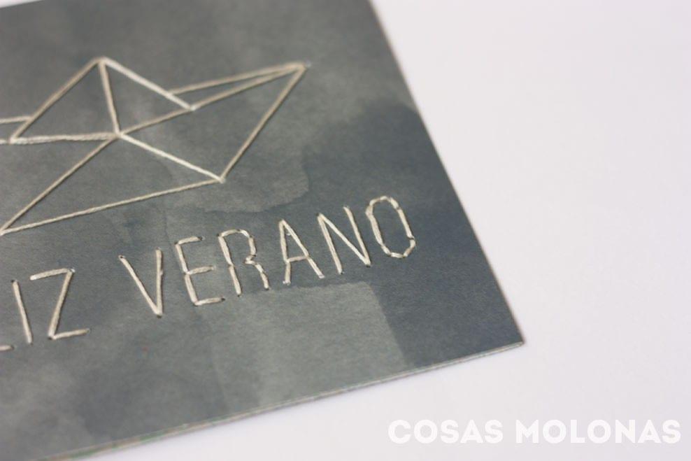 """Imprimible gratis: Plantilla """"Feliz Verano"""" para bordar en tarjetas"""