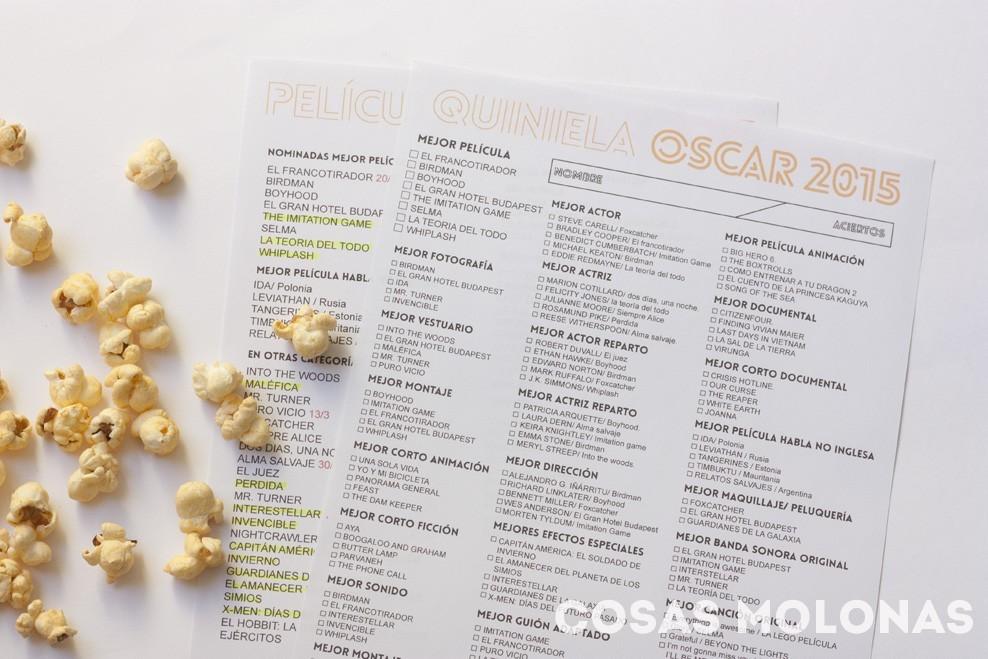 Imprimibles: prepárate para los Oscar 2015