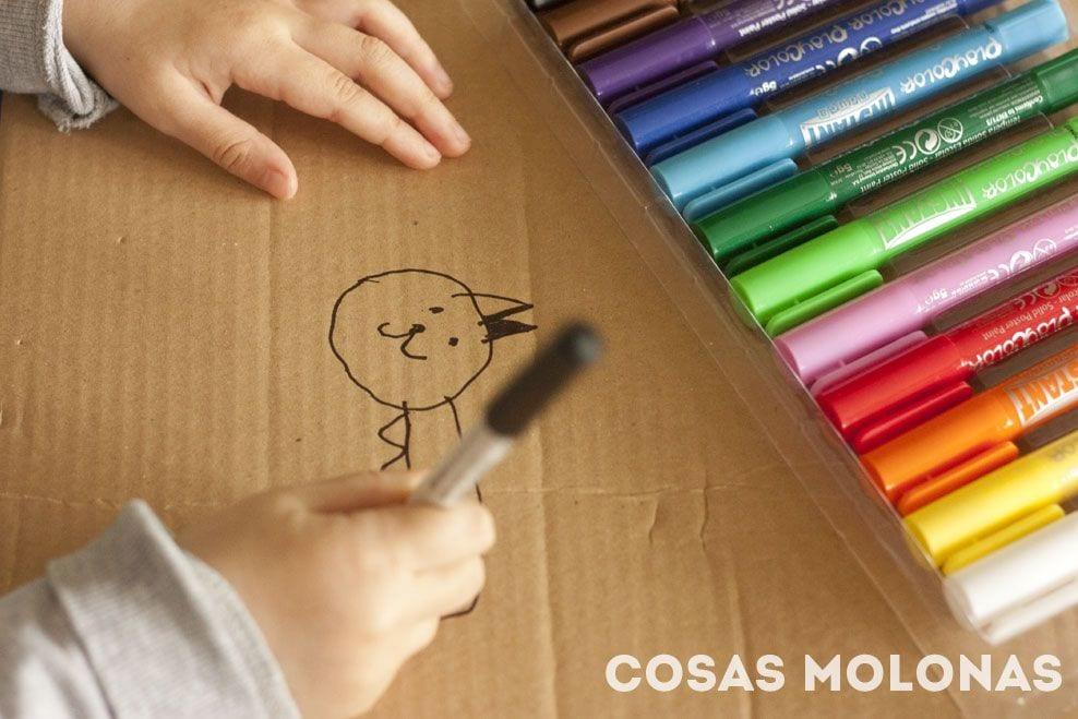 Manualidades para niños: Collar de cartón con temperas + ¡sorteo!