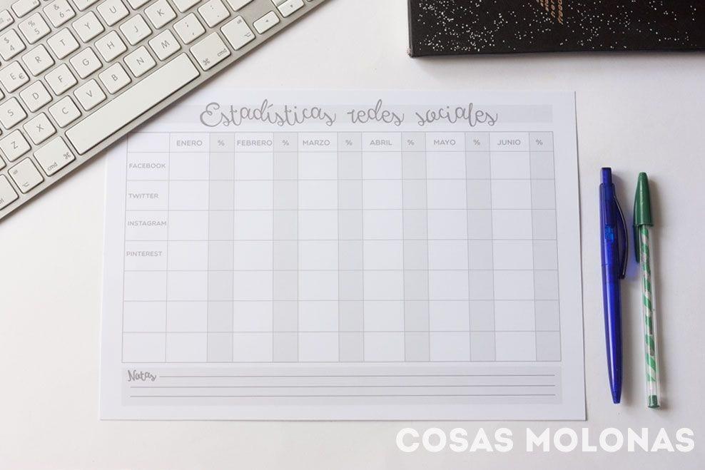 Imprimible: Hoja de control de estadísticas mensuales del blog