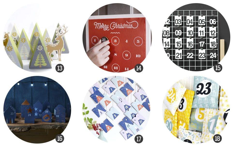 Imprimibles: 18 calendarios de adviento