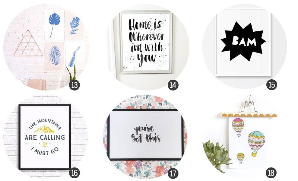 18 láminas imprimibles para decorar