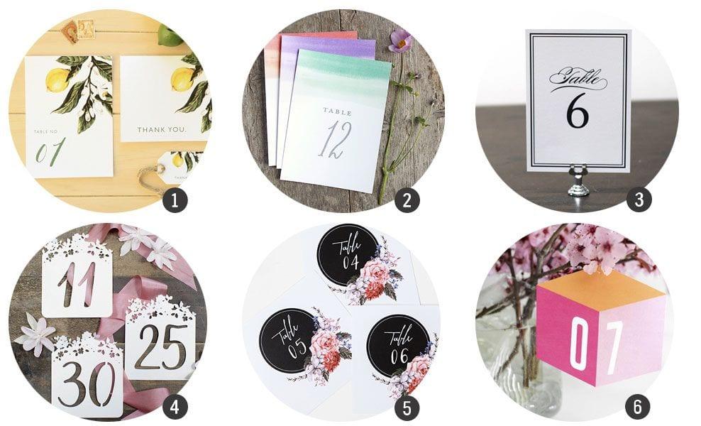 Imprimibles: Números de mesa para tu boda o celebración