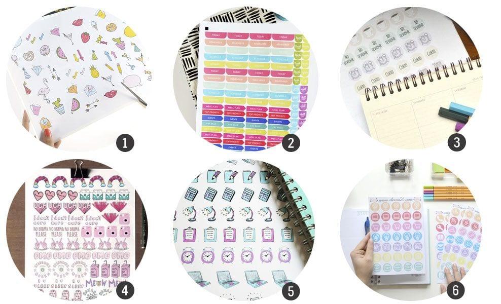 Imprimibles 18 sets de pegatinas para decorar agendas for Pegatinas para decorar habitaciones infantiles