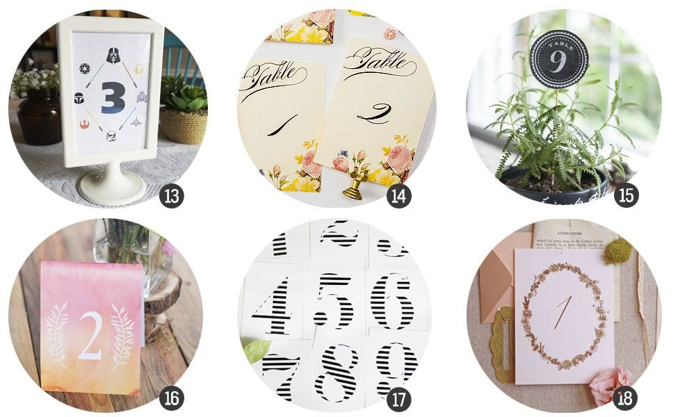 Imprimibles gratis: Números de mesa para tu boda o celebración