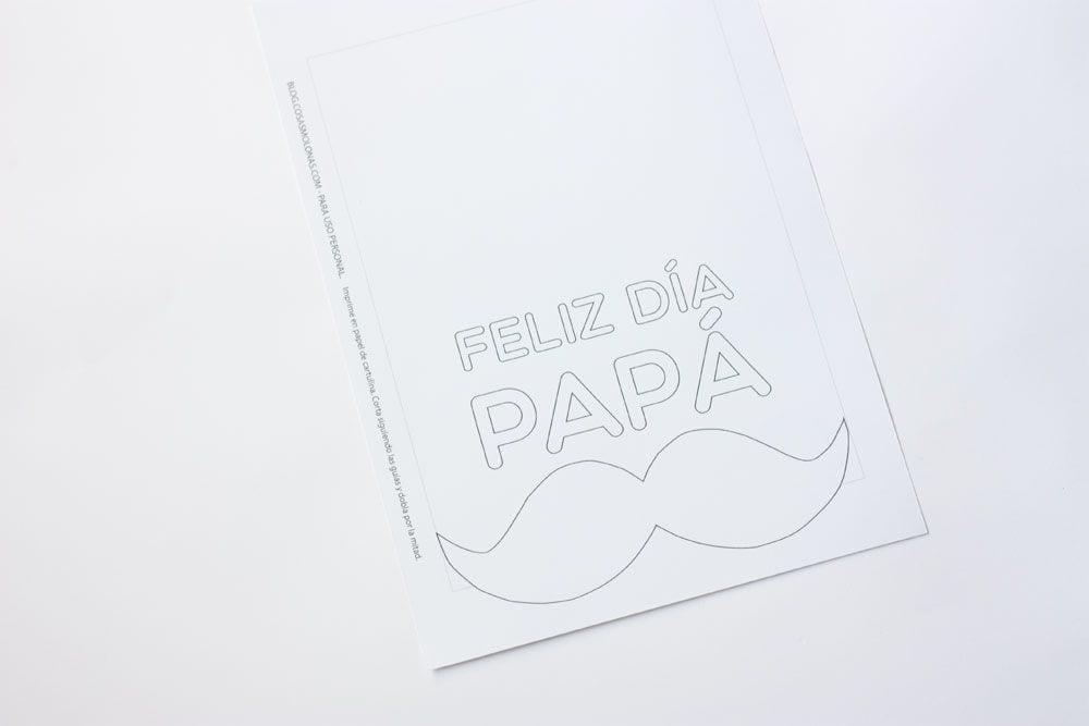 Tarjeta Imprimible Para Colorear Día Del Padre