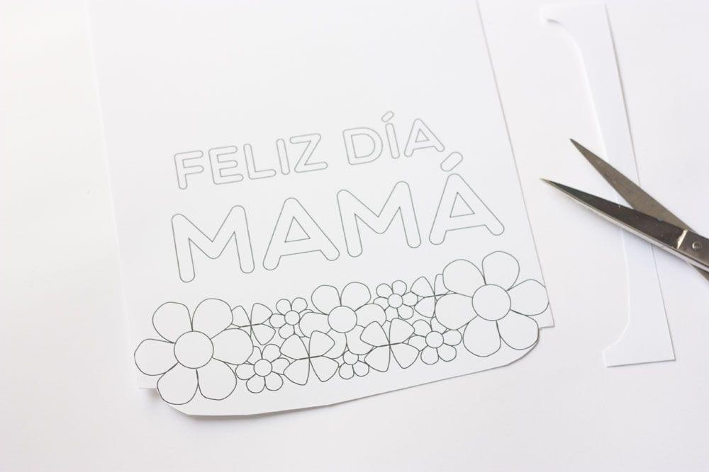Tarjeta para colorear para el Día de la madre en www.cosasmolonas.com