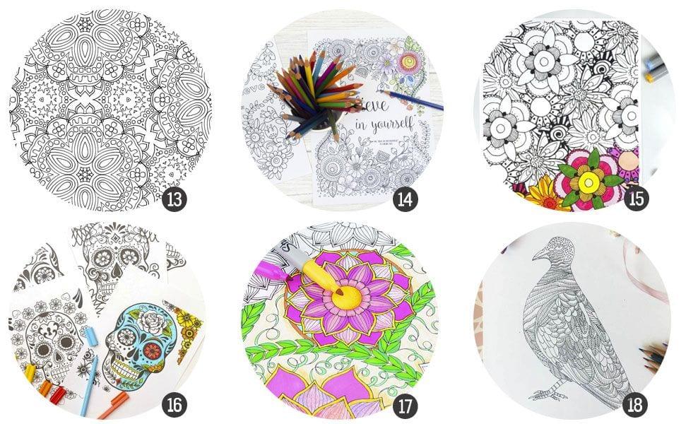 18 láminas para colorear imprimibles para adultos