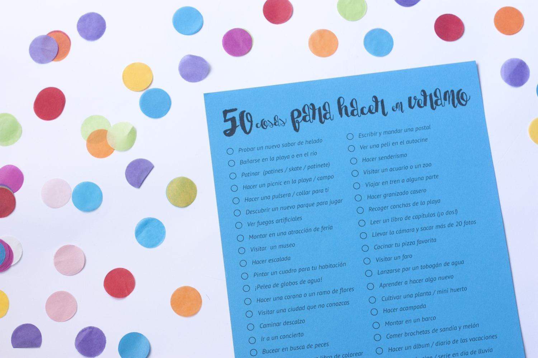 Imprimible / 50 cosas que hacer en verano
