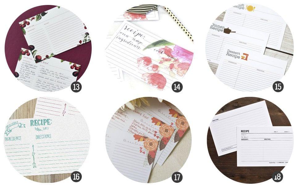 18 imprimibles para recetas de cocina