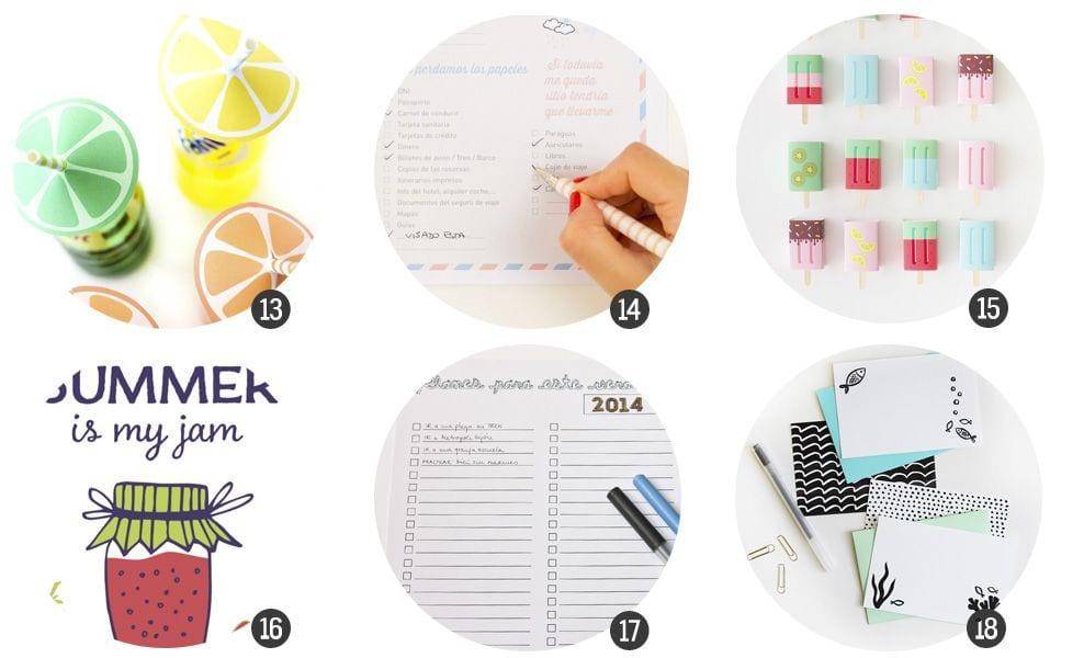 18 imprimibles gratis inspirados en verano
