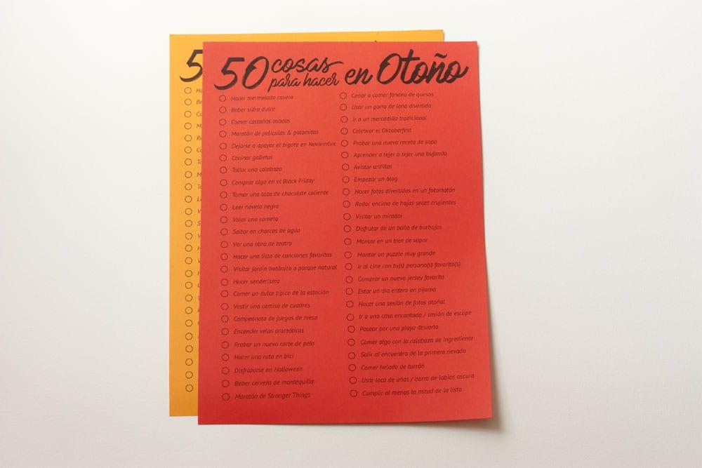 Imprimible: 50 cosas que hacer en Otoño