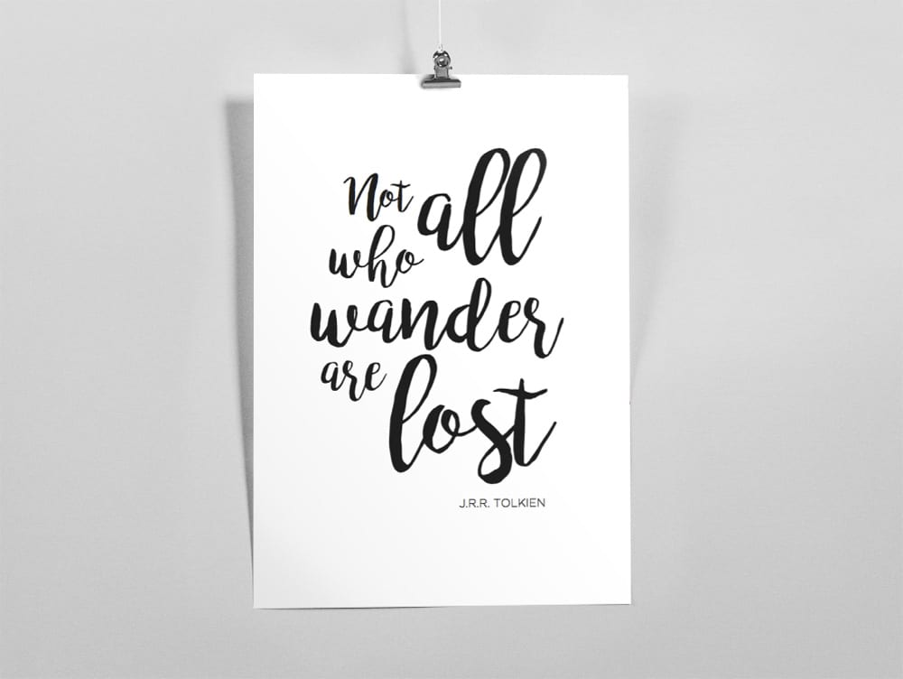 "Imprimible / Lámina ""Not all who wander are lost"""