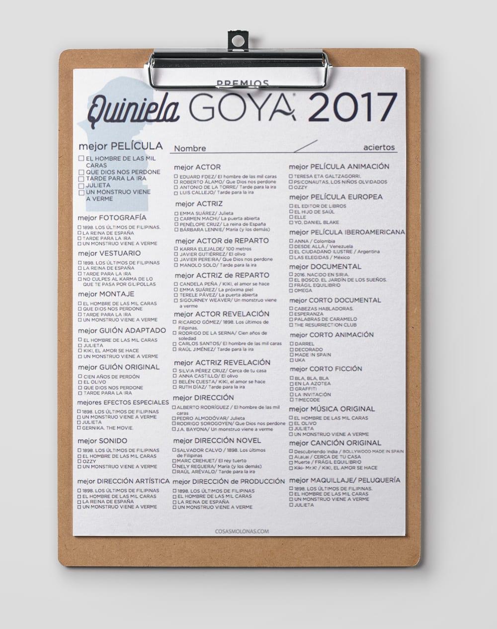 Imprimible / Quiniela de los Premios Goya 2017 en www.cosasmolonas.com