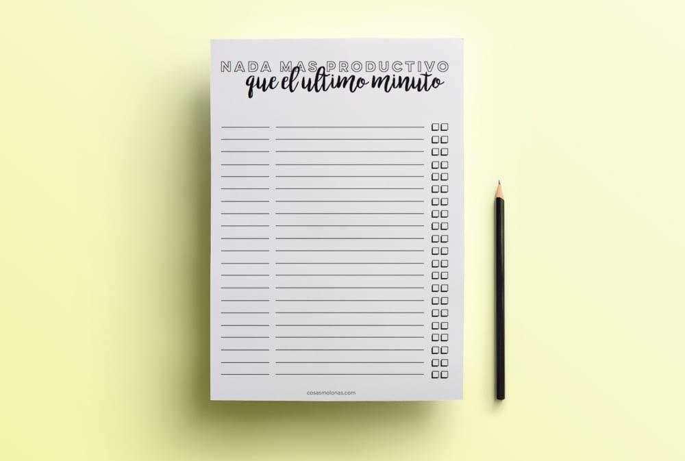 Imprimible / Planificador para fechas límite