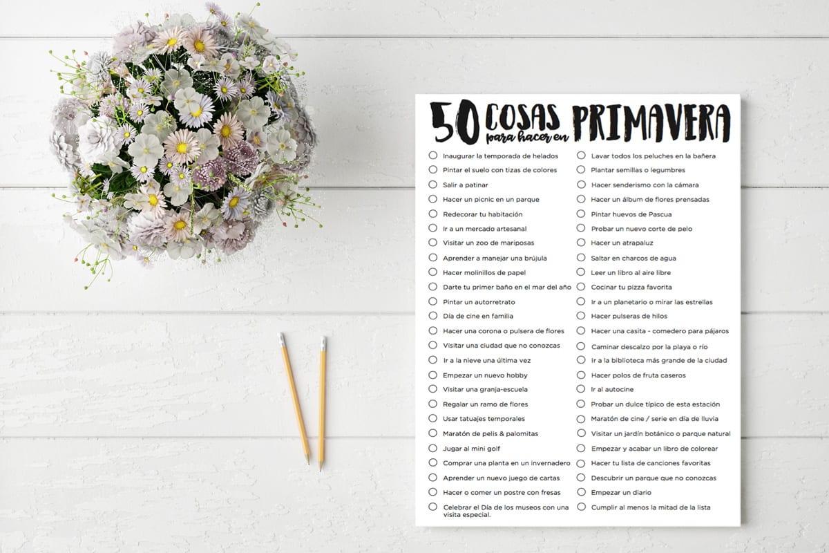 Imprimible / 50 cosas para hacer en Primavera